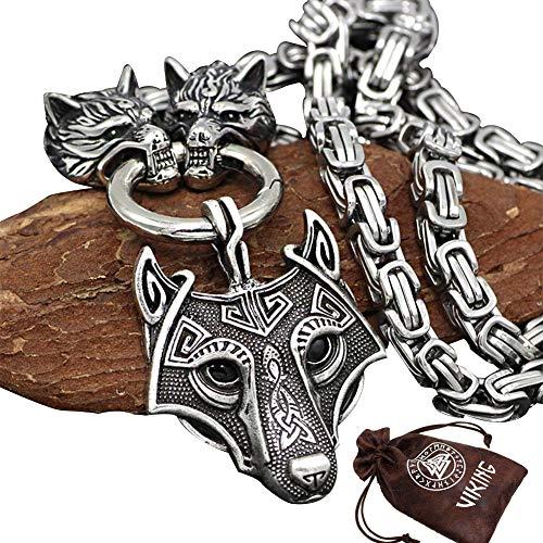 BBYaki 3D Cabeza de Lobo Odin Viking Collar Colgante Celtic Cadena de Metal Cuadrada de Acero...