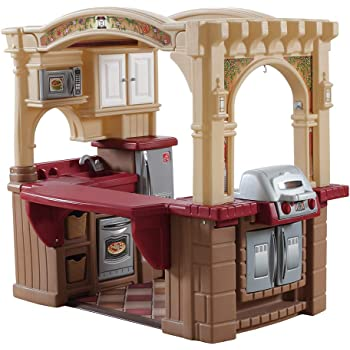 Step2 Grand Walk-In Kitchen & Grill | Large Kids Kitchen Playset Toy | Play Kitchen with 103-Pc Play Kitchen Accessories Set Included, Brown/Tan/Maroon (821400)
