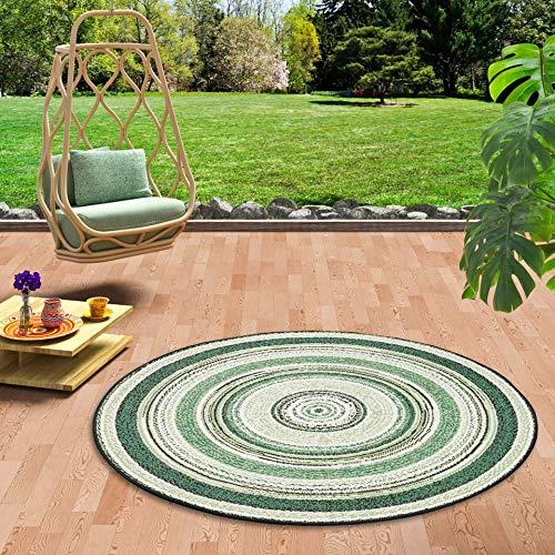 Pergamon In- und Outdoor Teppich Flachgewebe Carpetto Grün Stripes Rund