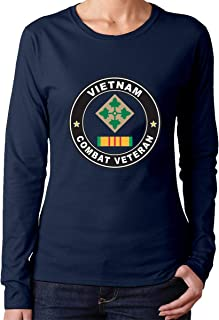 4th Infantry Division Vietnam Combat Veteran Fashion Women's Crew Neck with Long Sleeves