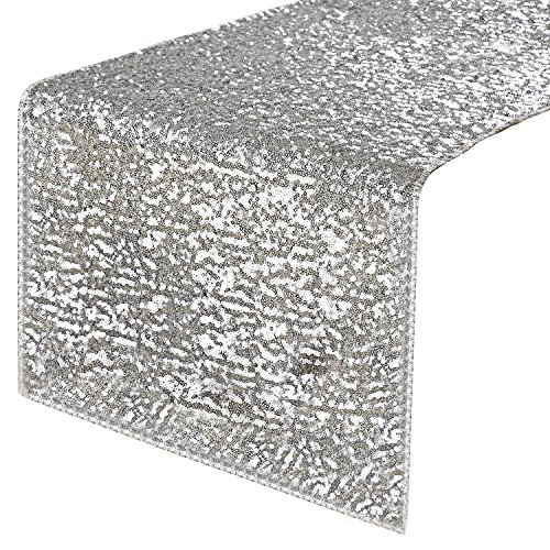 """PONY DANCE Sequins Table Runner - Rectangular Sparkling Party/Wedding/Holiday Table Runners for Banquet Event Dinner Decoration Christmas Home Decor, 14"""" x 108"""", Silver"""