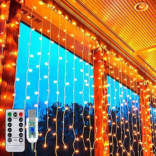 LED Lichtvorhang 3x3m, Ollny 300 LED Lichterkette Vorhang mit Fernbedienung & Timer 8 Modi Lichterkettenvorhang für Außen Innen Weihnachten Partydekoration Geburstag Hochzeit Fenster Zimmer, Warmweiß