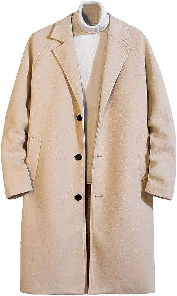 Men's Long Woolen Windbreaker Coat Korean Autumn Winter Solid Casual Cardigan