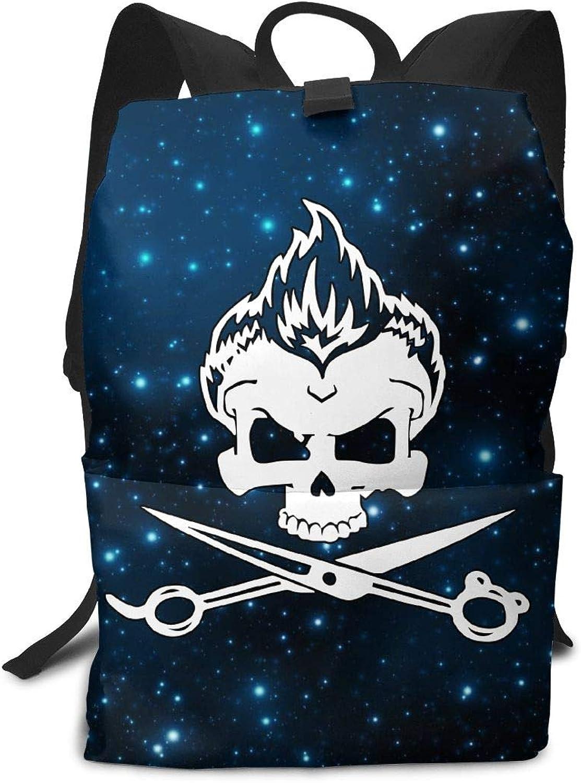 WoAdnis Kid Skull Hair Cutting Scissors Hairdresser Lightweight Travel Backpacks School Book Bag