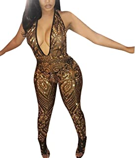 bbe98bc8e5a ECHOINE Women s Sexy Sparkly Jumpsuits Deep V Neck Sequin Mesh Bacekless  Clubwear Party One Piece Romper