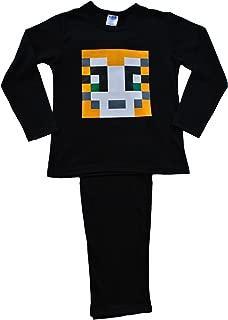 ThePyjamaFactory Boys Girls Stampylongnose Pyjamas Pixel 7-12 Years Stampy Pjs Black