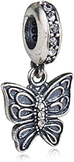 Choruslove 925 Sterling Silver Love Takes Flight Charm Beads Dangle Butterfly Pendant with Clear Crystal for European Women Style Bracelet or Necklace