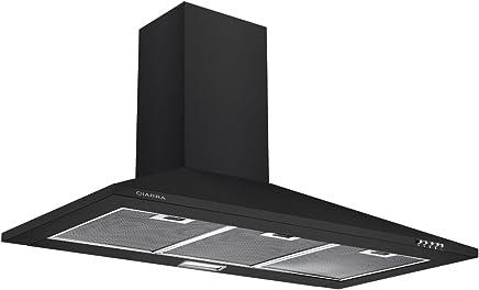 CIARRA Campanas Extractoras Decorativa Cocina 90cm 380m³/h 65W Acero Inoxidable Luces LED Filtros de Grasa 3 Velocidades Evacuación al Exterior y De Recirculación Color Negro