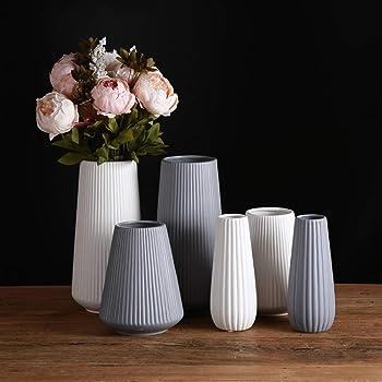 【Yuuming】フラワーベース 花器 花瓶 陶器 つや消し面 北欧モダンシンプルデザイン (中, 灰)