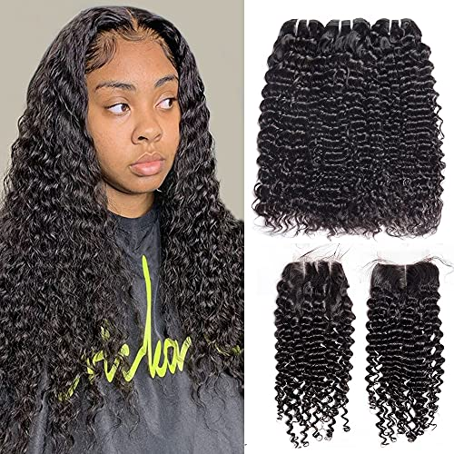 Vipbeauty Malaysian Deep Curly 3 Bundles With Closure Three Parting Unprocessed Virgin Hair Weave Extensions With 4x4 Lace Closure ( 12 14 16 with 10 Closure )