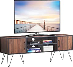 Tangkula Retro TV Stand, TV Console, Modern Entertainment Center for Flat Screen TV Cable Box Gaming Consoles, Media Console with Cabinet Doors (Walnut)
