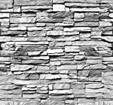 Fototapete Stein 3D 274 x 254 cm inklusive Kleister Steinwand Schwarz Weiß Weiss Mauer Ziegel Tapete - 2