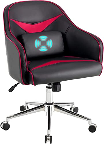 high quality Giantex PU high quality Leather Gaming Chair, Adjustable Height Mid-Back Armchair w/Massage Lumbar Pillow, Rolling Swivel Desk Chairs for wholesale Office Home Game Room (Red & Black) sale
