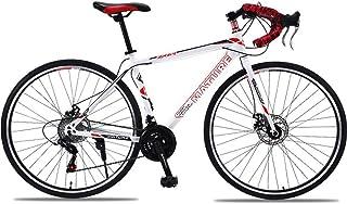 HUINI HOME Bicicleta de Carretera 700C 21-Velocidad Bicicleta Circuito de Bicicleta con Cuadro de Carbono con Freno de Disco Bicicleta de Carretera Cruzada para Hombres y Mujeres