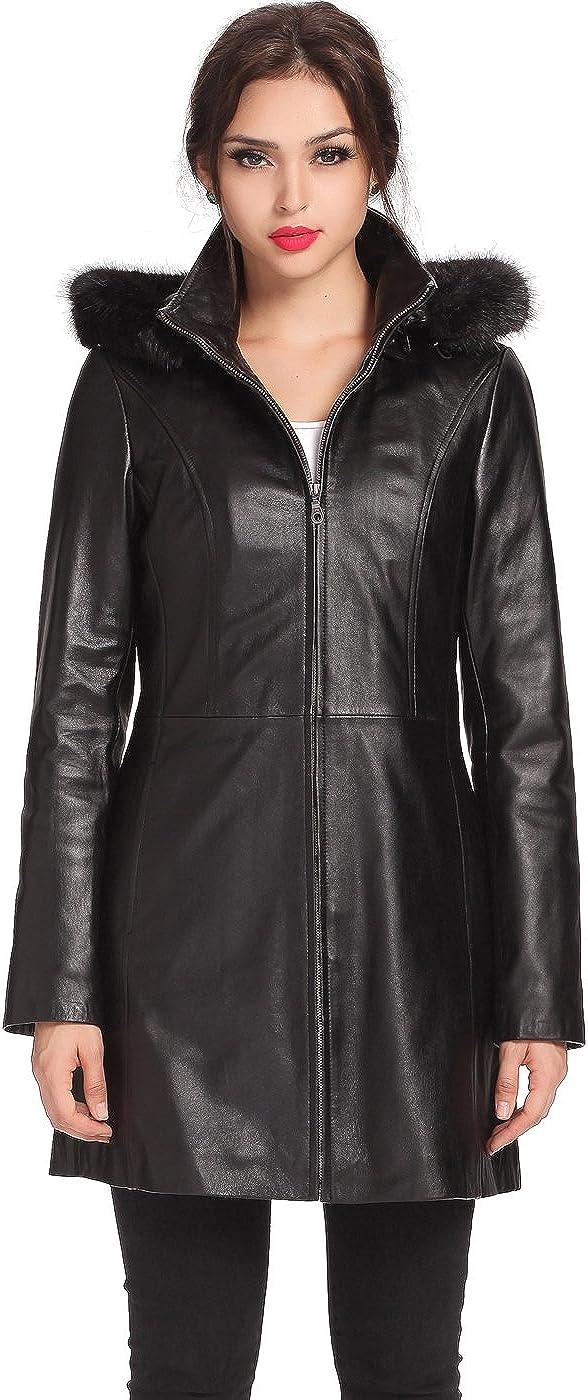 BGSD Women's Irene Lambskin Leather Parka Coat (Regular & Plus Size & Petite)