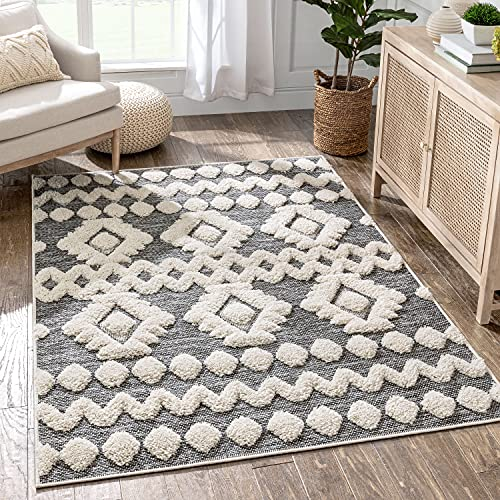 Well Woven Cenar Grey Flat-Weave Hi-Low Pile Diamond Medallion Stripes Moroccan Tribal Area Rug 8x10 (7'10' x 9'10')