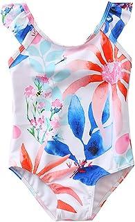 Dinlong Summer Toddler Kids Girl Swimwear Sleeveless Sling Watermelon Printed Layered Polka Dot Bikini Swimsuits