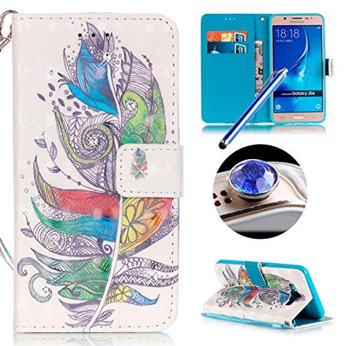 Samsung Galaxy J5(2016) Housse Coque de Téléphone, Etsue Cute Mode Colorful Design Flip Housse PU Cuir Coque Stand Housse de Protection pour Samsung Galaxy J5(2016),Coque est Bookstyle Folio Motif [Colorful Campanule] et Cristal Cloutés pour Samsung Galaxy J5(2016) Joindre 1 x Corde + 1 x Bleu stylet + 1 x Bling poussière plug (couleurs aléatoires)