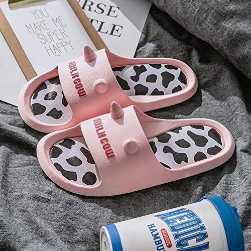 Ducha Sandalias Casa Interior,Sandalias de Playa de Dibujos Animados de Verano, Zapatillas de baño de baño para Mujeres-Pink_37-38,Mulas Sandalias Sin Cordones