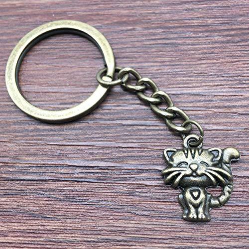 TAOZIAA Schlüsselanhänger Smile Cat Keychain 19x17mm Antique BronzeFashion Handmade Metall Keychain Souvenir Geschenke für Frauen