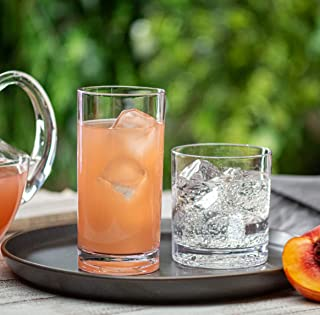 Elegant Acrylic Drinking Glasses [Set of 16] Attractive Clear Plastic Tumblers - Unbreakable Drinkware Set Ideal for Indoor and Outdoor - Kid Friendly