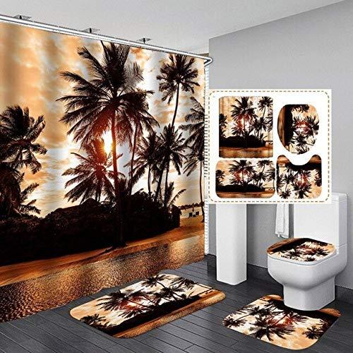 KUKUALE Sunset Time Print Rideau de Douche 4 pièces Couverture de Tapis Tapis de Bain de Toilette Ensemble de Rideaux de Salle de Bain avec 12 Crochets 180x180cm (71x71in)