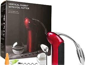 Rabbit Wine Opener with Best Wine Accessories - Rabbit Vertical Corkscrew, Foil Cutter, Extra Spiral, Rabbit Wine Aerator Pourer, Rabbit Wine and Beverage Bottle Stopper