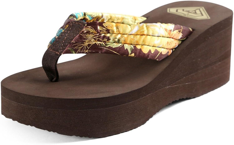 Women's shoes Silk Spring Summer Comfort Slippers & Flip-Flops Wedge Heel for Casual Dress Fuchsia Coffee