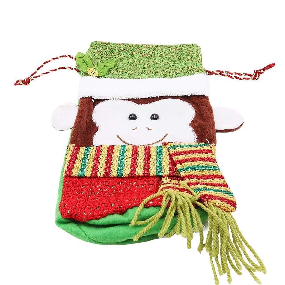 不適切な着飾るチラチラするPULABO クリスマスボトルカバークリスマスデコレーションインテリアモンキーパターンワインシャンパンボトルカバーディナーテーブルホームパーティークリスマスギフト、グリーンモンキー耐久性と実用性創造性