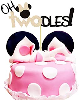 Oh Twodles Minnie Mouse Cake Topper,Second 2nd Birthday Party Supplies Decorations for Baby Girl