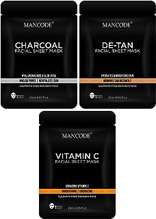 Mancode Facial Sheet Mask for Men Comb Pack - Charcoal Sheet Mask | Vitamin C Sheet Mask | De Tan Sheet Mask (Vitamin | Ch...