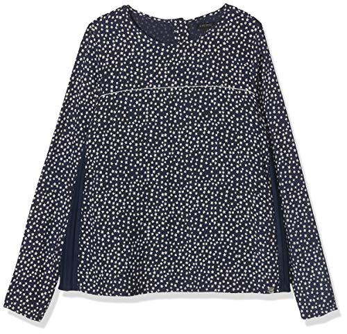 IKKS Junior meisjes blouse Bi Matiere All Over/Navy Plissé blouse