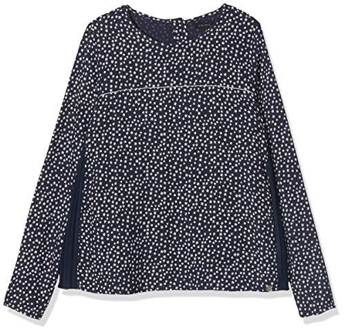 IKKS Junior Mädchen Blouse Bi Matiere All Over/Navy Plisse Bluse, Blau Imprimé 48, 3 Jahre (Herstellergröße: 3A)