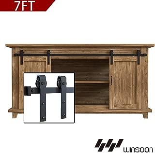 WINSOON 7FT Super Mini Sliding Barn Door Cabinet Hardware Kit for Double Doors TV Stands Small Wardrobe Cabinets, J Shape Hanger (NO Cabinet)