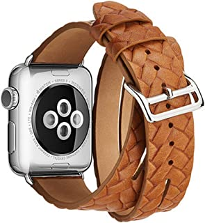 Chnanレザーループ時計バンド用42mm 38mm For iWatch sシリーズ用3 2 1手首バンドブレスレットベルト時計バンド-Orange-for apple watch 42mm