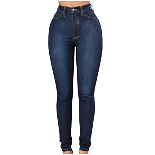 59d1750f34 Abetteric Womens Slim-Fitted High Waisted Washed Stretch Tapered Jean