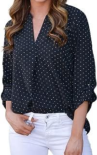Women Blouse Women V-Neck Casual Polka Dot Print Full Sleeve Top Blouse
