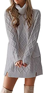 Panfinggin Womens Polo Neck Knit Stretchable Elasticity Long Slim Sweater Winter Casual Bodycon Mini Dress Gray