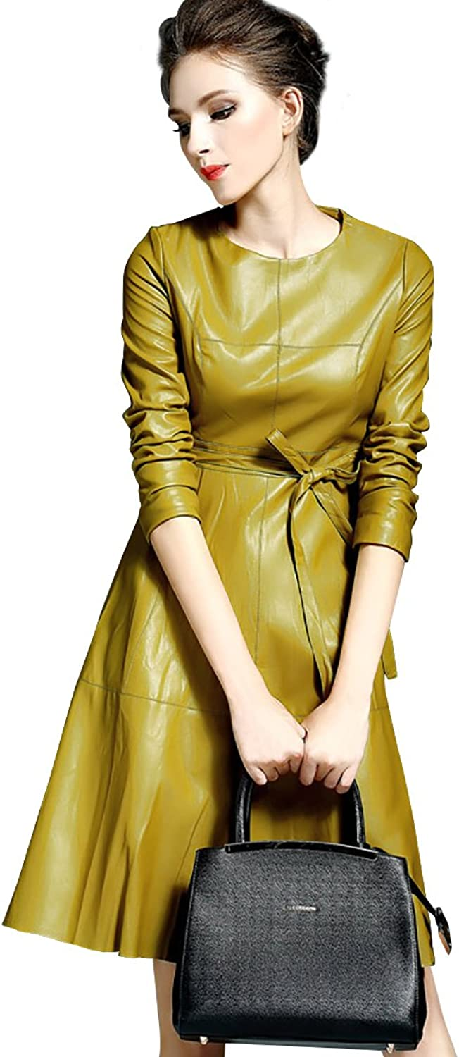 LAI MENG FIVE CATS Womens Faux Leather Fashion Midi Bodycon Aline Dress with Belted