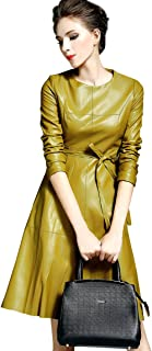 Womens Faux Leather Fashion Midi Bodycon A-line Dress with Belted