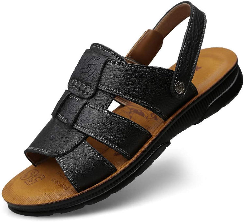 TDPYT Mens Leather Sandals Summer shoes Male Genuine Leather Casual shoes Man'S Sandals Breathable Retro Walking Footwear