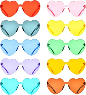 Sponsored Ad - One Piece Rimless Sunglasses Transparent Candy Color Tinted Eyewear, 10 Pack, Medium