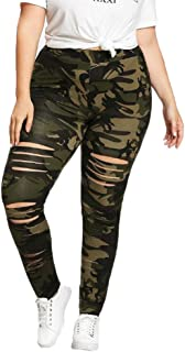 740c51bebf0f1 URIBAKE ❤ Fashion Women's Plus Size Leggings Breathable Mid Waist Camouflage  Sport Hole Casual Pants