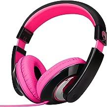 RockPapa On Ear Stereo Headphones Earphones for Adults Kids Childs Teens, Adjustable, Heavy Deep Bass for iPhone iPod iPad MacBook Surface MP3 DVD Smartphones Laptop (Black/Pink)