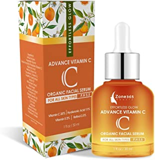 ZONE – 365 Vitamin C Topical Facial Serum for All Skin Types; with Hyaluronic Acid, Retinol, Vitamin E; 1 f...
