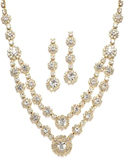 Gold Two-Row Rhinestone Crystal Necklace and Earrings Set - Prom, Brides and Bridesmaids Jewelry