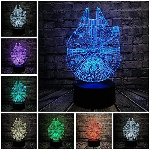 Star Wars UFO Bb8 R2D2 Trek 3D lámpara de ilusión 3D, lámpara de estado de ánimo con control remoto óptico táctil 7 colores cambiantes luz nocturna, lámpara de ilusión óptica 3D