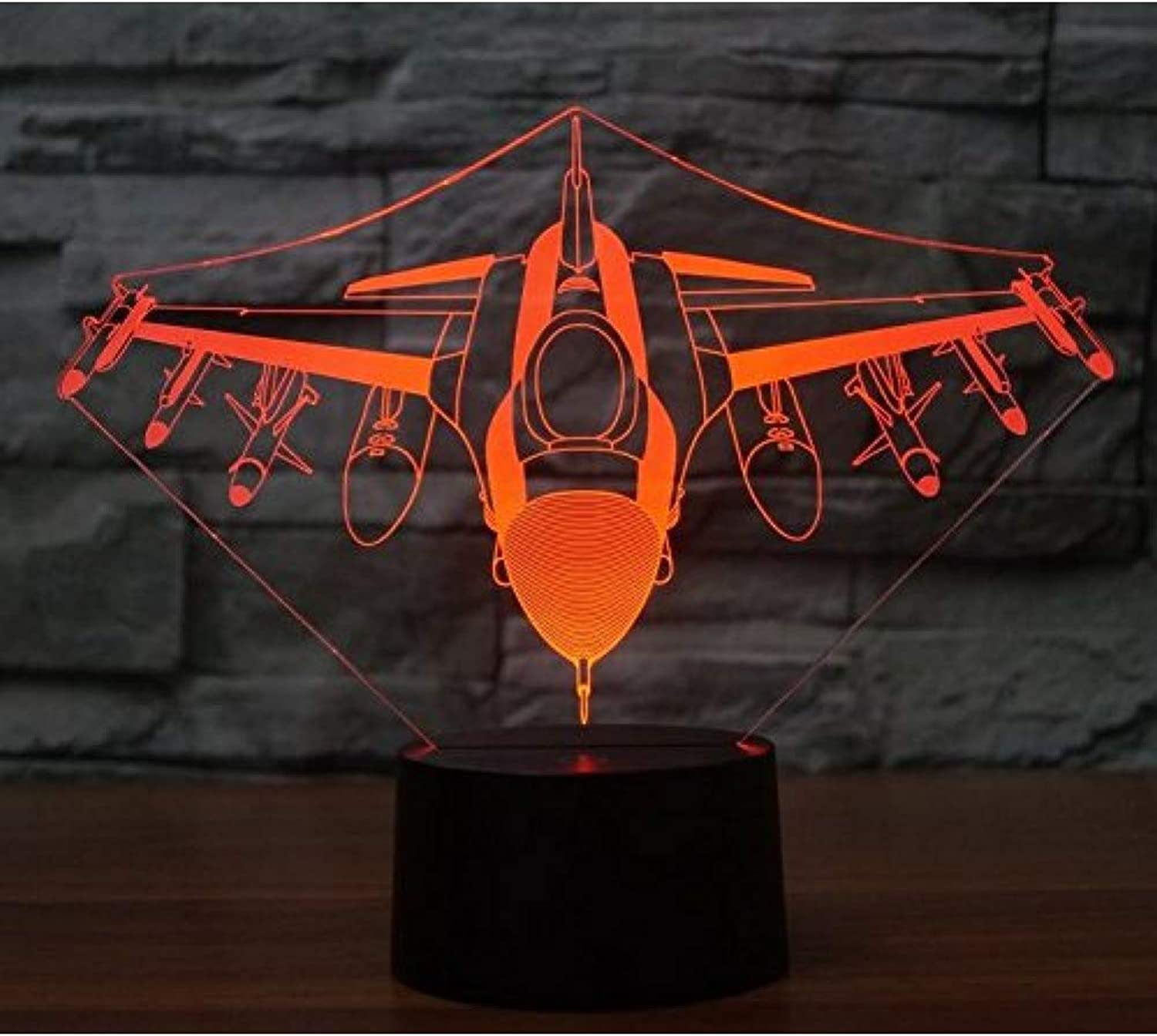 KKXXYD Aircraft 3D Lamp Air Plane 7-color Multicolord USB Power 3D Night Light Home Decoration