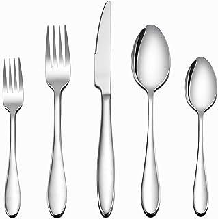 LIANYU Flatware Set, 40 Piece Silverware Set, Stainless Steel Home Kitchen Hotel Restaurant Tableware Cutlery Set, Service...