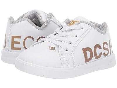 DC Kids Court Graffik Elastic SE (Toddler) (White/Gold) Boys Shoes